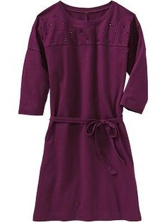 Girls Embellished-Yoke Tie-Belt Dresses