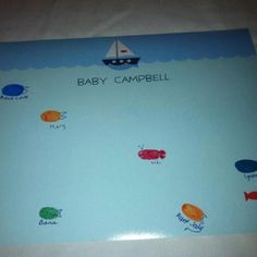 Guests put a finger print and signed their names to fill this page. After we made little fish out of the thumb prints.