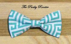 Aqua-Seafoam and white geometric Bow Tie Clip by ThePunkyRooster. Mint, teal, aqua, beach wedding, Easter