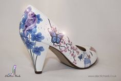 Hand Painted Bridal Shoes Floral Birds And Butterflies With Added Sparkle