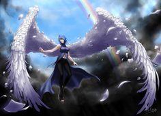 Naruto Shippuden » Fanart » Wallpaper   Konan paper wings, dark clouds, rainbow   #konan