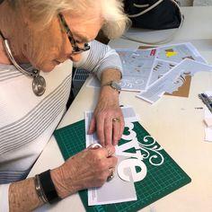 Jenny working on the LOVE papercut Papercutting, Workshop, Atelier, Work Shop Garage, Cut Paper Art, Cut Outs