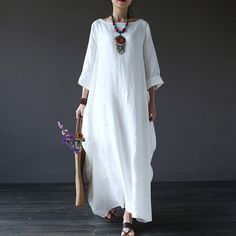 Women  printing cotton linen loose dress