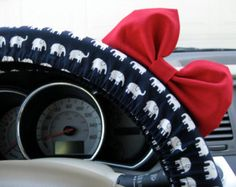 The Original Limited Edition Navy and White Elephants Steering Wheel Cover with Matching Bright Red Bow