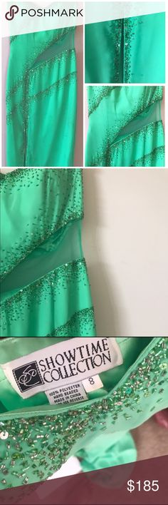 """🥀🎉PROM Bright Sea Green Beaded Gown/Dress Sz8 Worn once! The sheer portion on the left side really makes the dress ;) measurements 14"""" from side to side waist/ length 51""""/ bust 17"""" from side to side 🎈 make offers ! Don't be afraid I'm easy to work with :) Showtime Collections Dresses Prom"""
