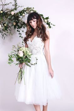 BLOSSOM - Bridal gown wedding dress with fairy tale tulle prom style skirt and corded lace fitted bodice with deep v-back and v-neckline