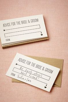 Wisdom Cards (10) ~ Everyone always has valuable advice for the bride and groom, why not record them on keepsake letterpress cards? Pass them out to guests at a shower or even at the wedding itself to fill with sentiments that are sure to be treasured. @BHLDN Weddings