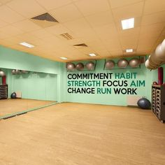 Fitness Inspiration Wall Decal Mural. Available in 1 or 2 colors. Comes in a variety of sizes to perfectly fit your gym!