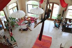 aerial silks lessons...I want to try this!