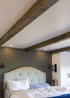 Ideas About Faux Wood Beams On Faux Beams Wood Faux Wood Flooring Wood Bedroom, Master Bedroom, Diy Bedroom, Bedroom Loft, Bedroom Ceiling, Bedroom Lighting, Home Renovation, Home Remodeling, Faux Wood Beams