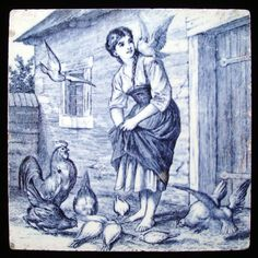 William Wise Country Life Tile ~ Feeding Chickens 1882. Minton