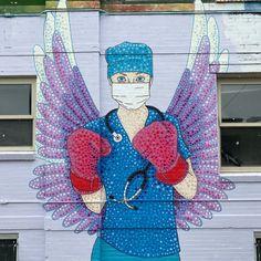Streetart – Coronavirus by Austin Zucchini-Fowler @ Denver, USA Nursing Survival Kit, Website Instagram, Nurse Art, Care Worker, Stencil Art, Banksy, Street Artists, Urban Art, Creative Inspiration