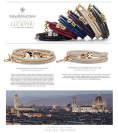 Maria Cristina Sterling Gioielli moda made in Tuscany bracciali Fortuna Luckyou argento dorato e pelle http://shop.mariacristinasterling.it