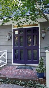 medium gray house with purple door - @Diane Manley it actually looks really good with the gray and red brick