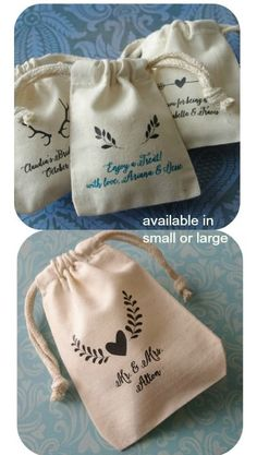 Personalized Muslin Favor Bags - Rustic Icons