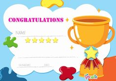 Free Printable certificate template for kids - بالعربي نتعلم Free Printable Certificate Templates, Certificate Design Template, Award Template, Templates Printable Free, Free Printables, Design Templates, Kids Awards, Coloring Pages For Kids, Decoration