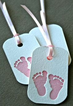 Pink Baby Feet Letterpress Gift Tag Set of 3 by greengrasspress, $2.50