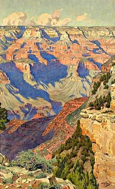 Seeking superior fine art prints of View into the Grand Canyon by Gunnar Widforss? Customize the size, media & framing for your style. Landscape Artwork, Landscape Drawings, Landscape Illustration, Watercolor Landscape, Nature Artwork, Landscape Quilts, Classical Realism, Western Art, Art Reproductions