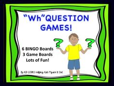 """Questions BINGO and Game ActivitiesKID TESTED/TEACHER APPROVED!   Including 3 Fun Activities! BINGOAsking Questions Board GameAsking Questions Around The Table Activity  A great way to work on asking """"Wh"""" questions. These activities also help children to think about what questions make sense to ask in a variety of situations, as well as improving conversational skills and perspective taking skills in general."""