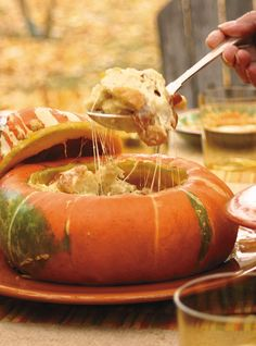 Turban Squash stuffed with bread, cheese, garlic and bacon and then baked in the squash shell. mmmm