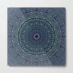 Blue Sacred Kaleidoscope Mandala Metal Print by David Zydd #BestMetalPrints #MandalaMetalPrint #Gift #Arts #Mandala (tags: metal print, metal, home decor, mandala, mandala decor, decor, mandala decoration, mandala art, mandala wall decor, product design, relaxation, mandala pattern, oriental, decoration, wall art, bohemian wall decor, arts, sacred geometry) Mandala Pattern, Mandala Art, Bohemian Wall Decor, Sacred Geometry, Oriental, Tapestry, Wall Art, Metal, Artwork