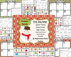 """This product includes the Sweet Treats themed """"Roll, Say, Keep!"""" game with Primer Dolch sight words. I have included the Primer Dolch list. There are two different types of extension activities to go with the game/center. There is also a Sweet Treats themed color word wall to place in the writing center, as well as, Sweet Treats themed words that can be used as a word wall or portable word ring. You can also cut apart the cards and use them for memory! 84 pages in this product!"""