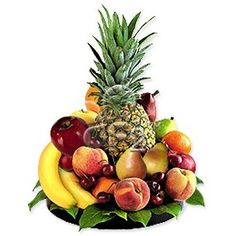 Nothing brightens up a work week better than this delightful tray full of fresh fruits. Great for office or home. Apples, bananas, oranges and pineapple arrive in a low round tray. Pineapple Delight, Pineapple Gifts, Fruit Flower Basket, Fruits Basket, Flower Cart, Fruit Gifts, Fruit Snacks, Fruit Basket Delivery, Gourmet Baskets