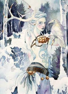 Skadi is a jötun and goddess in Norse mythology that is associated with skiing, bow hunting, winter and mountains.