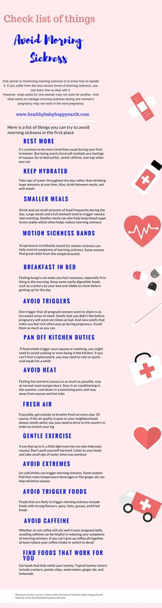 Check list of things to avoid morning sickness