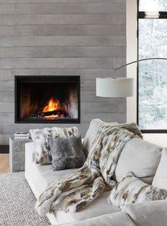Chalet-chic | Simons Maison Genuine Rabbit Fur Throw. #home #decor #comfort More