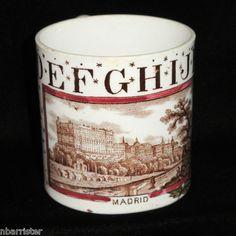 Antique Childs Staffordshire ABC Mug City of Madrid Spain 1880 Brownhills Co | eBay