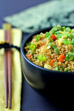 "Quinoa Fried ""Rice""! Protein-packed quinoa replaces white rice in this classic Chinese restaurant dish #glutenfree"