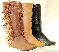 Women Boots Knee High Low Heel Comfort Fashion Fringe  Western Cow Boy Style