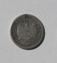 Uruguay 10 Centesimos Coin Silver - 19th century but date unreadable.