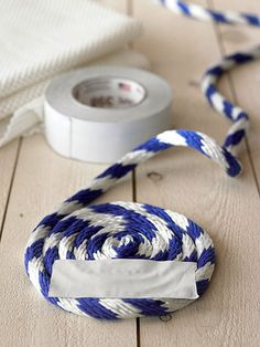 Make It: Rope Rug - not sure I'd use tape to hold it, especially in the bathroom, would be harder & take more time but think I'd use something like embroidery floss & tack in place. Could use the tape to help hold while doing the sewing.