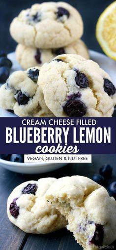 This light and refreshing Blueberry Lemon cookie is a springtime delight. It's bright lemony notes are complemented by sweet, fresh blueberries and a tangy vegan cream cheese filling. |Recipe www.allergylicious.com| #gluten-free #vegan #blueberry #cookie #dairyfree #spring