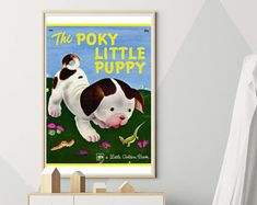 Puppy poster for nursery Little Puppies, Dogs And Puppies, Puppy Nursery, Cool Dog Houses, Best Dogs, Wall Decor, Poster, Handmade, Etsy