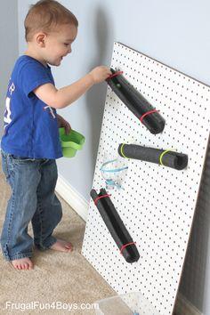 Here's an easy way to build a marble run – with pegboard, pipe insulation, and zip ties! My older boys really enjoyed the engineering challenge of our magnetic marble run, but this marble run was a better speed for our three year old (who is more likely to bump the pieces on the magnetic run, …