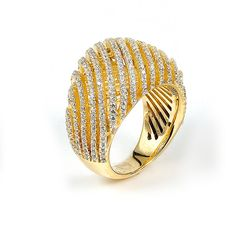 Sterling silver micro-pave Cubic Zirconia ring with yellow gold plating: Rings