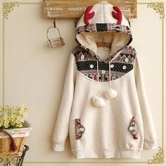 Buy 'Fairyland – Antler Hooded Pullover' with Free International Shipping at . Browse and shop for thousands of Asian fashion items from China and more! Kawaii Fashion, Cute Fashion, Asian Fashion, Girl Fashion, Fashion Outfits, Fashion Trends, Winter Outfits, Cool Outfits, Kawaii Clothes