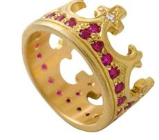 Gold Jeweled Crown Ring