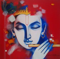 Krishna - by Vijay Gille tulika art gallery. Shree Krishna, Krishna Art, Lord Krishna, Shiva, Krishna Drawing, Krishna Painting, Krishna Flute, Buy Paintings Online, Indian Art Gallery