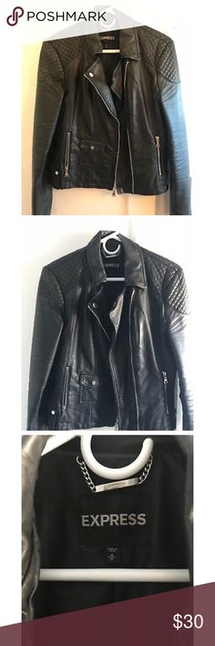 Express Women's Faux Leather Polyurethane Jacket Pre-owned Express Women's black faux leather jacket with silver zipper detailing, size medium. Good condition Express Jackets & Coats