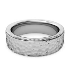 mens wedding ring milgrain hammered - Google Search