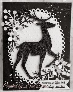 Card by Sue Drees  (102714)  [(dies)  Dee's Distinctively Dies  Berry Springs (IME092), Spellbinders (unknown) Oval,  Sizzix  Prancing Deer; (e/f) Cuttlebug Swiss Dots, Darice  Snowflakes;  (stamps)  Just  Rite Antique Christmas Tags 1]