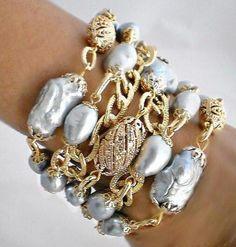 Jewelry Crafts, Jewelry Art, Jewelry Bracelets, Jewelery, Jewelry Accessories, Fashion Jewelry, Jewelry Design, Pearl Bracelets, Bangles