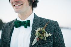 Boutonnier and groom style for a Maine winter wedding // Emily Elizabeth Events + A Love Supreme Photography + Pretty Flowers Maine + Portland Trading Co.