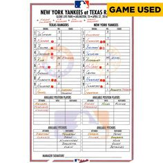 Texas Rangers Fanatics Authentic Game-Used 2016 Lineup Card