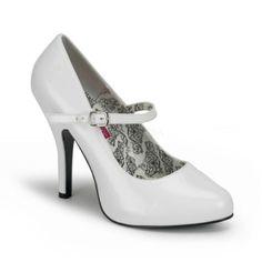 Tempt 35 White Patent Mini Concealed Platform High Heel Mary-Jane Court Shoe