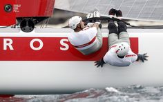 Luna Rossa team Swordfish of Italy crews compete with their multihulls during the America's Cup World Series regatta in Naples.